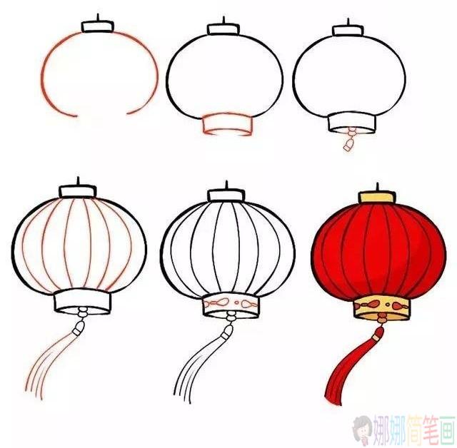 过年的红灯笼简笔画,元旦节简笔画