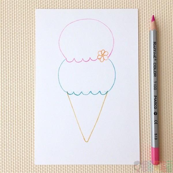 冰淇淋简笔画,冰淇淋画法教程