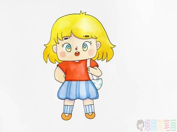 Q版动画小女孩简笔画画法教程