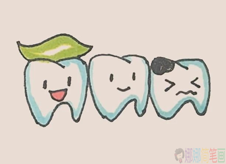 牙齿简笔画,牙齿的画法