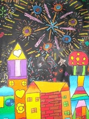 春节烟花儿童画图片